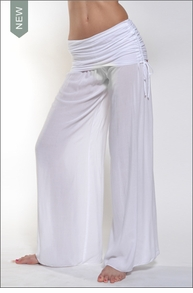 Hardtail Side Ruched Boho Pant (White)