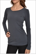 Hardtail Supima / Lycra Long Sleeve Scoop Tee (Onyx)