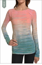 Hardtail Supima / Lycra Long Sleeve Scoop Tee (Seaside Sunrise Tie-Dye)