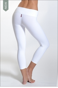 Hardtail Supplex Flat Waist Capri (White)