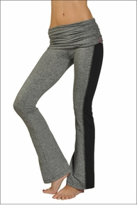 Hardtail Brushed Heather Ruched Flare Pants (Heather & Black)