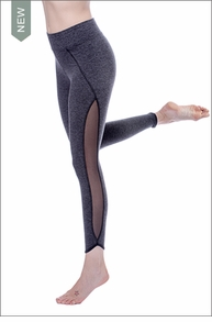 Hardtail Tear Drop Mesh Ankle Legging (BRUS-76, Charcoal)