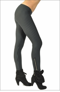 Hardtail Vertical Stripe Ankle Zip Leggings (Black & Blue Stripes)