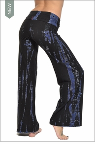 Hardtail Wide Leg Roll Down Pants (Dark Blue Fossil Tie-Dye)