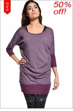Heathered Sweater Dress (Concord Grape) by Hard Tail Forever