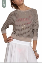 Holey Jersey Cropped Sweatshirt (Driftwood) by Hardtail