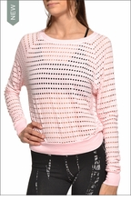 Holey Jersey Cropped Sweatshirt (Seashell) by Hardtail