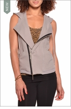 Hooded Motorcycle Vest (Nickel) by Hardtail