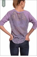 Lace Back Baseball Tee (Thistle) by Hardtail