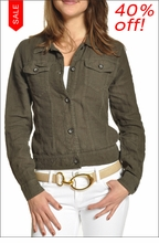 Linen Faux Jean Jacket (Olive Green) by Hardtail Forever