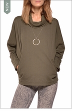 Long Sleeve Boxy Cropped Sweatshirt (Olive) by Hardtail
