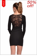 Long Sleeve Lace Back Dress (Black) by Hard Tail Forever