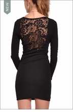 Long Sleeve Lace Back Dress (Black) by Hardtail