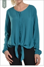 Long Sleeve Tie Front Blouse (Tide) by Hard Tail Forever