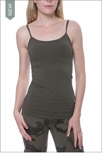 Long Speghetti Tank with Bra (586, Olive) by Hard Tail Forever