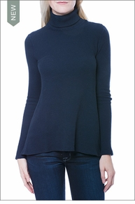 Loreen Long Sleeve Relaxed Turtleneck (Midnight Blue) by Three Dots