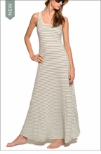 Oraganic Striped All Day A-Line Dress (Bamboo & Heather Gray Stripes) by Hardtail