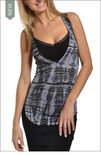 Plunging Racer Back Tank (Charcoal Gator Tie-Dye) by Hardtail