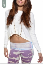 Quilted Notch Front Sweatshirt (Cream) by Hardtail