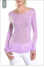 Rayon Shantung Longsleeve Skinny Tee (Lavender) by Hard Tail Forever