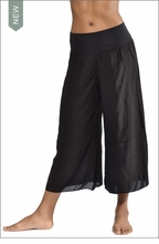 Rayon/Voil Flat Waist Crop Pant (Black) by Hard Tail Forever