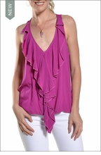 Rayon Voile Ruffle Poet Tank (Wildberry) by Hard Tail Forever