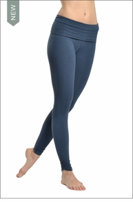 Razor Back Roll Down Side Shirred Legging (Indigo) by Hard Tail Forever
