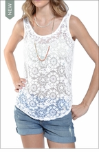 Reversible Lace Tank (White) by Hardtail