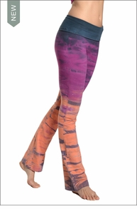 Roll Down Boot Leg Pants (Bright Rainbow Horizon) by Hard Tail Forever