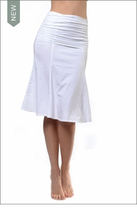 Roll Down Scrunch Waist Skirt (SL-33, White) by Hard Tail Forever