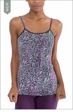 Scroll Floral Long Speghetti Tank with Bra (FB-02, Black/Purple Scroll Floral) by Hard Tail Forever