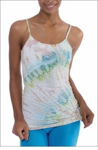 Scroll Floral Long Speghetti Tank with Bra (FB-02, Tie-Dye DLZ5) by Hard Tail Forever