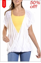 Short Sleeve Twisty Top (White) by Hard Tail Forever