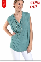 Slouchy Draped Front Tee (Bottle) by Hard Tail Forever