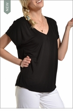 Slouchy V-Neck Tee (Black) by Hard Tail Forever