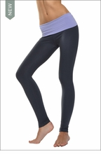 Solid Waist Contour Roll Down Ankle Legging (Mist & Onyx) by Hardtail