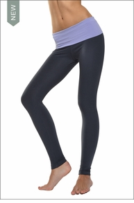 Solid Waist Contour Roll Down Ankle Legging (Mist & Onyx) by Hard Tail Forever
