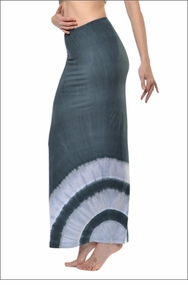 Straight Maxi Skirt (Faded Navy & Fresh Linen Tie-Dye) by Hard Tail Forever