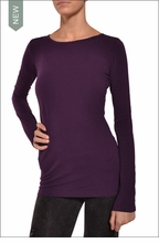 Supima/Lycra Long Sleeve Scoop Tee (Concord Grape) by Hardtail