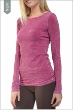 Supima / Lycra Long Sleeve Scoop Tee (Orchid Mineral Wash) by Hardtail