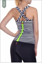Supplex Striped Scoop Front Tank (Black & White) by Hardtail