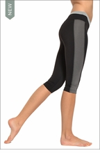 Supplex Tri-Tonal Flat Waist Capri (Black, Charcoal, & Heather) by Hardtail