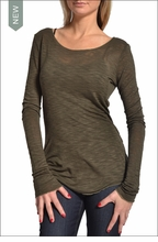 Long Sleeve Shirred Skinny Tee (Olive) by Hardtail