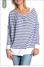 Striped Drop Neck Tee (Blue & White Stripes) by Hardtail