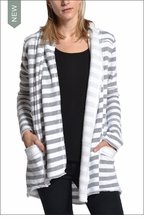 Slouchy Cardigan (Heather & White Stripes) by Hardtail