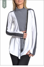 Tri-Tonal Side Zip Cardigan (White & Charcoal) by Hardtail