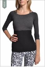 Brushed Heather Ballet Cropped Tee (Brushed Dark Charcoal) by Hardtail