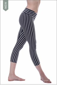 Vertical Stripe Flat Waist Capri (SUPCBS-09, Gray/Black Stripes) by Hard Tail Forever