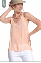 Voile Cross Back Easy Tank (Peach) by Hard Tail Forever