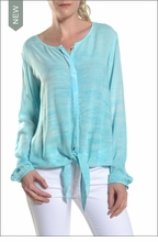 Voile Longsleeve Tie Front Blouse (Blue Lagoon) by Hard Tail Forever